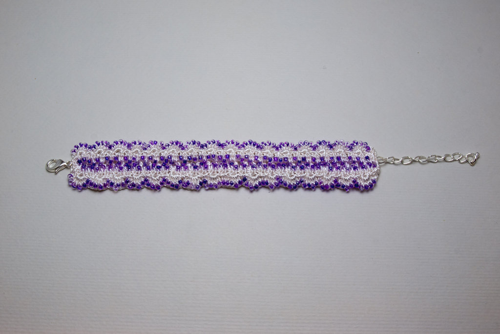 Purple Rocaille Crochet Bracelet