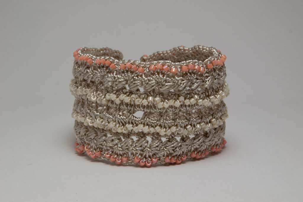 Peach and Cream Crochet Bracelet