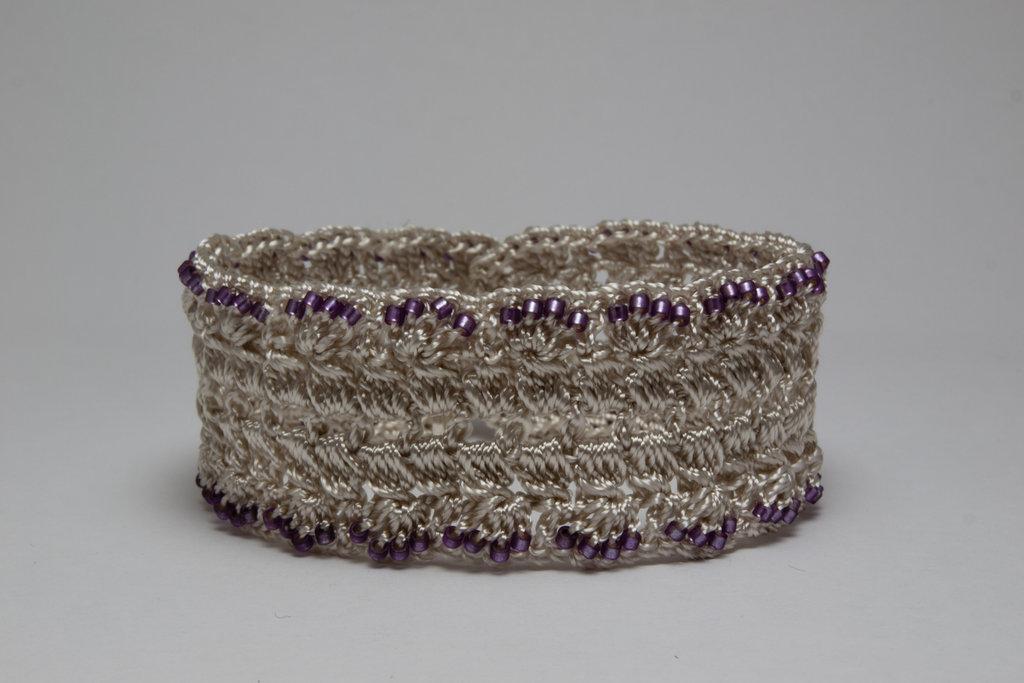 Grey Lavender Delica Crochet Bracelet