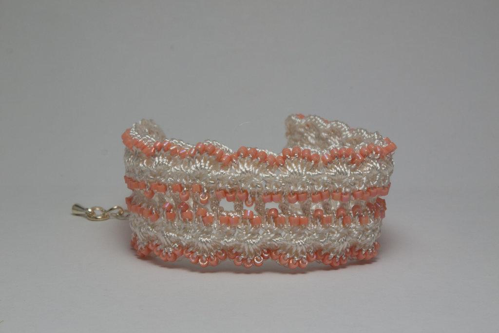 Peach Crochet Bracelet