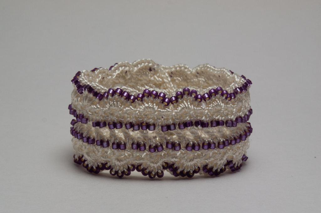 White Lavender Delica Crochet Bracelet